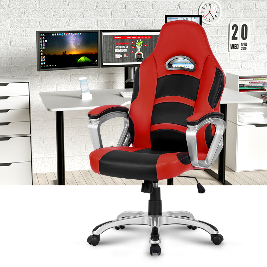 LANGRIA Ergonomic High-Back Faux Leather Computer Gaming Office Chair Padded Armrest Adjustable Height 360 Degree Swivel