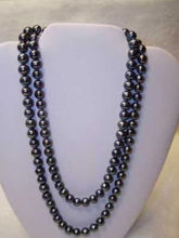 AAA 8-9mm tahitian black pearl necklace 48inch 4G8T