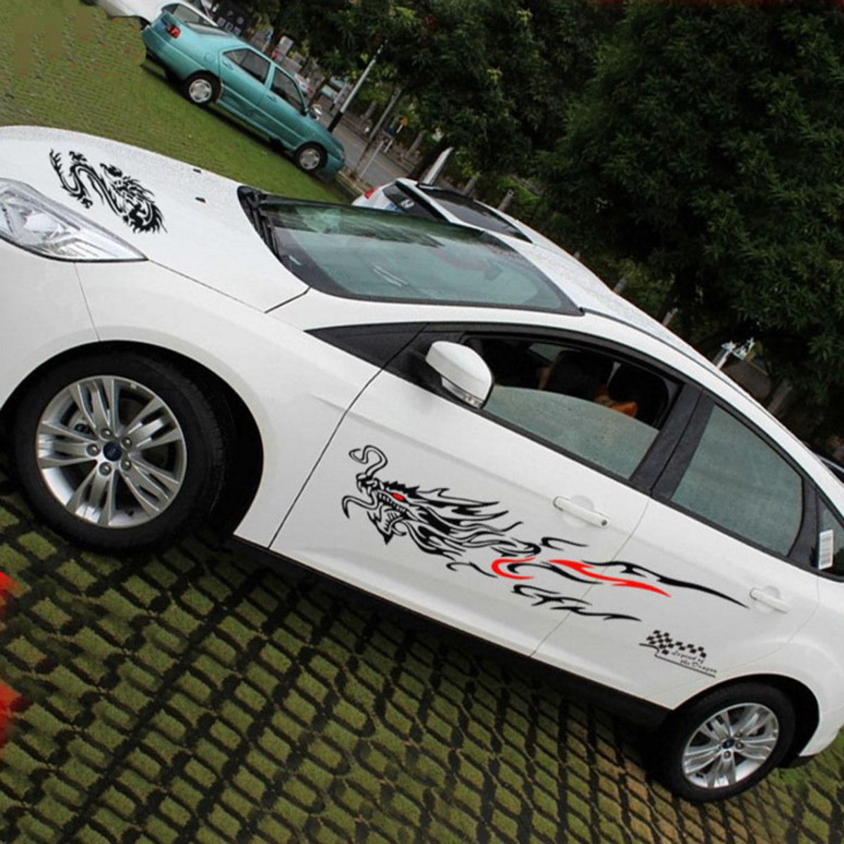 Chinese totem dragon graphics side decal body hood car stickers for chevrolet hyundai vw subaru volvo