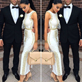 2016 New Luxury Brand Style Wholesale New Long Dress Black and  White Beading Tight Celebrity  Party Bandage Maxi Dress