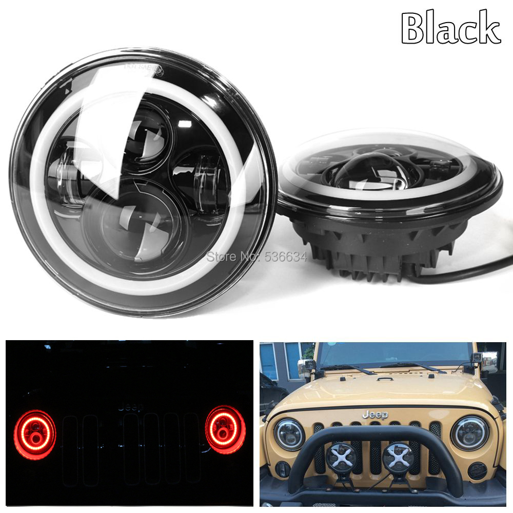 1Pair For Jeep Wrangler JK 7inch Round led Projector headlights Halo Ring Color Red H4 for Jeep Wrangler Unlimited JKU 4 Door pair j078 lantsun black hood locking catch kit for jeep wrangler jk unlimited