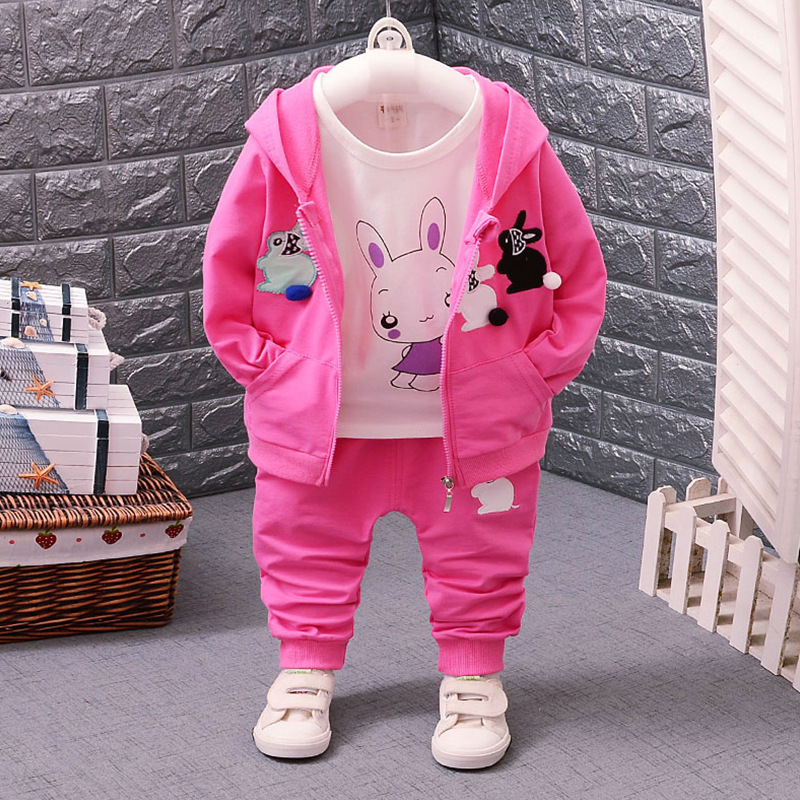 Fashion Autumn Children Girls Clothes Baby Hoodies T-shirt Pants 3Pcs Sets Kids Clothing Suits Toddler Tracksuits 4 Colors 2018 new girls flowers lace 3pcs clothes sets brand children s clothing kids coat t shirt pants suits baby roupas de bebe menina
