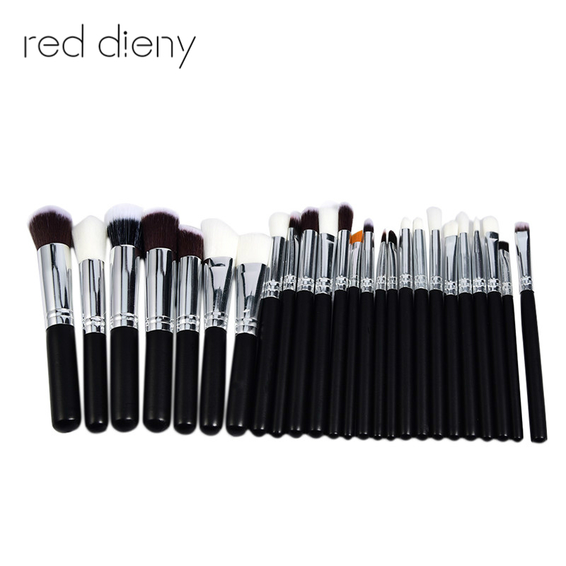 25Pcs Cosmetic Makeup Brushes Set Wood Handle Bulsh Powder Foundation Eyeshadow Eyeliner Lip Make Up Brush Beauty Tools new 32 pcs makeup brush set powder foundation eyeshadow eyeliner lip cosmetic brushes kit beauty tools fm88