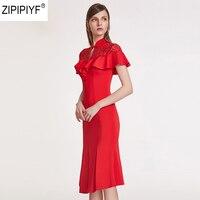 Elegant Women Above Knee Dress 2018 New Summer Fashion Short Sleeve Stand Collar Ruffles Lace up Party Dresses Vestidos C1314