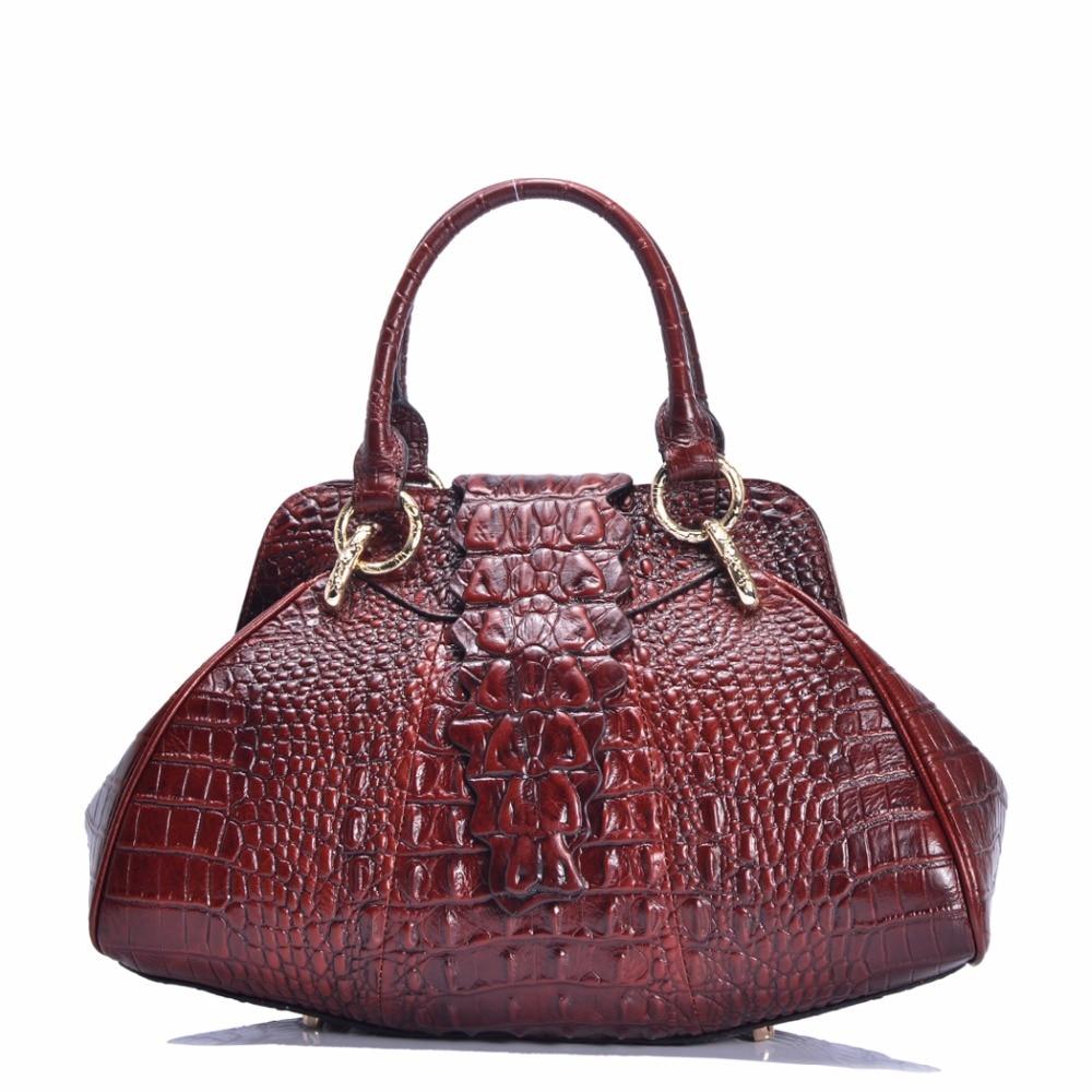 Genuine Leather Women Tote Bag Handbag Shopping Purse Top Quality Oil Wax Cowhide Crocodile Pattern Female Top Handle BagsGenuine Leather Women Tote Bag Handbag Shopping Purse Top Quality Oil Wax Cowhide Crocodile Pattern Female Top Handle Bags