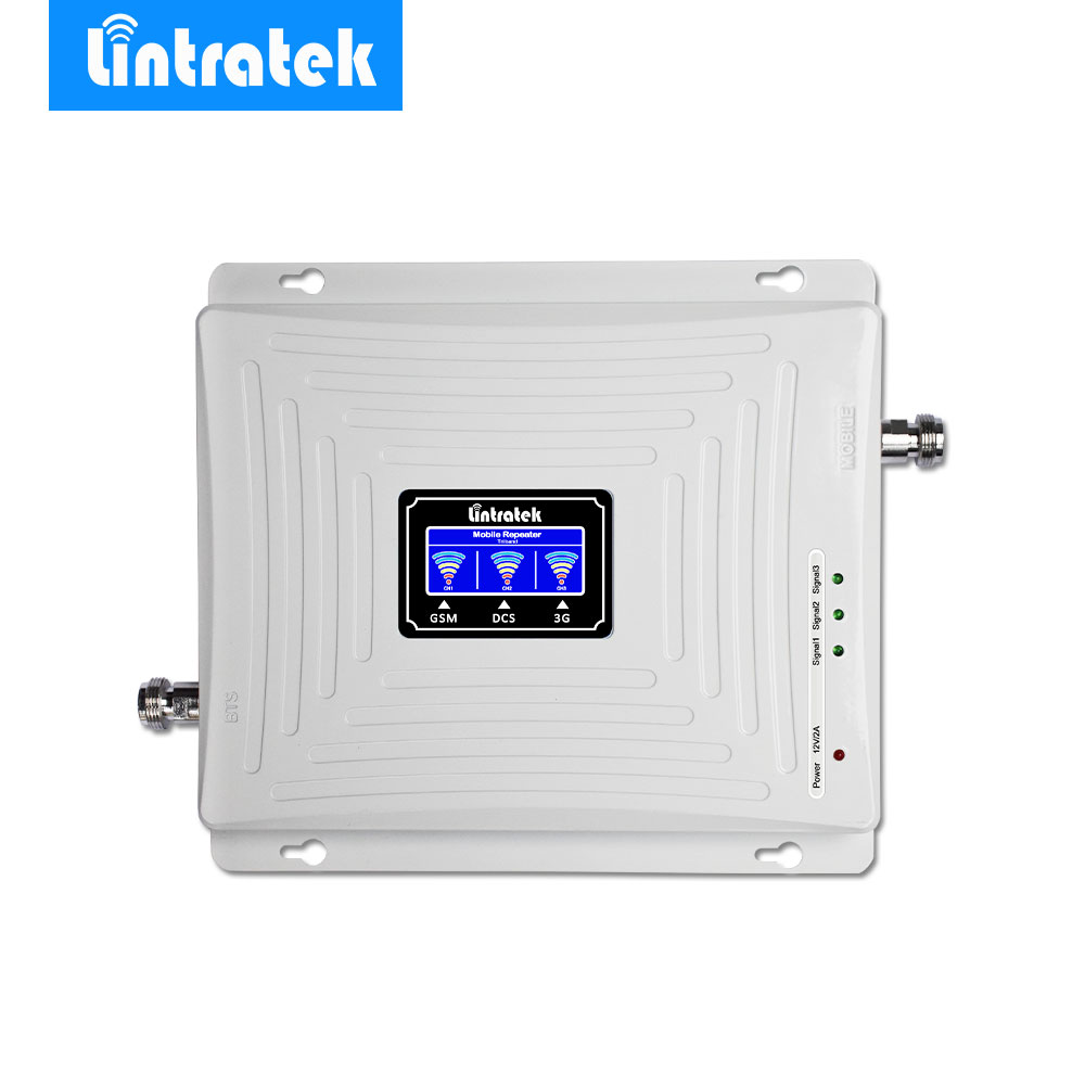 Lintratek GSM Amplificatore di Segnale 900 MHz LTE 1800 MHz UMTS 2100 MHz 2G 3G 4G Tri Band LCD Mobile Cell Phone Signal Booster Ripetitore @