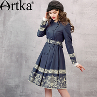 Artka Women S Autumn New Printed Cotton Trench Turn Down Collar Long Sleeve Double Breasted Wide