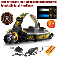 AloneFire HP82 Cree XPE Q5 2 LED Blue white Double light source Zoom led Headlamp light with 18650 battery/charger/car charger