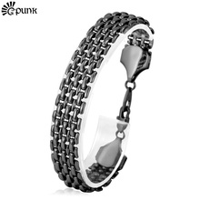 Men Link Chain Bracelets Bangles Wholesale 20CM High Quality Black Gun Plated 2016 Wristband Punk New