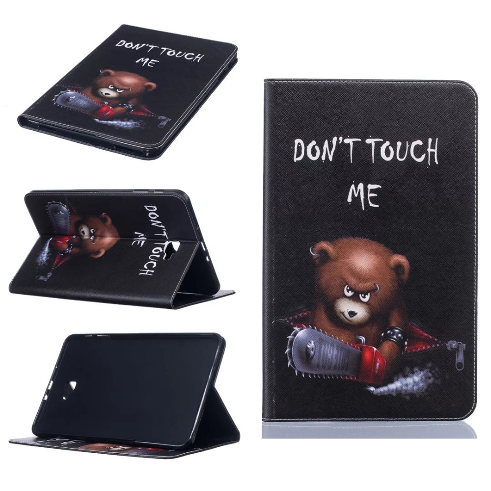 все цены на For Samsung Galaxy Tab A A6 2016 10.1 SM-T580 T585 T580N case Printed Cute Cartoon Design Flip Stand PU Leather Case +stylus онлайн