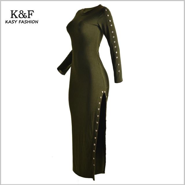 dfd0098b5d4 Hiver À Manches Longues Coton Tricoté Maxi Robe Pull Chic Bouton Designer  Côté de Split Casual