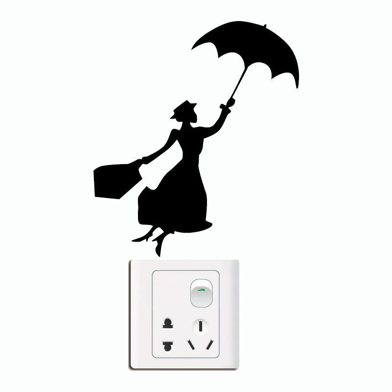 KG-238 Mary Poppins Silhouette Switch Sticker - Girl Decal - Nursery Wall Decor - Movie Home Wallpaper