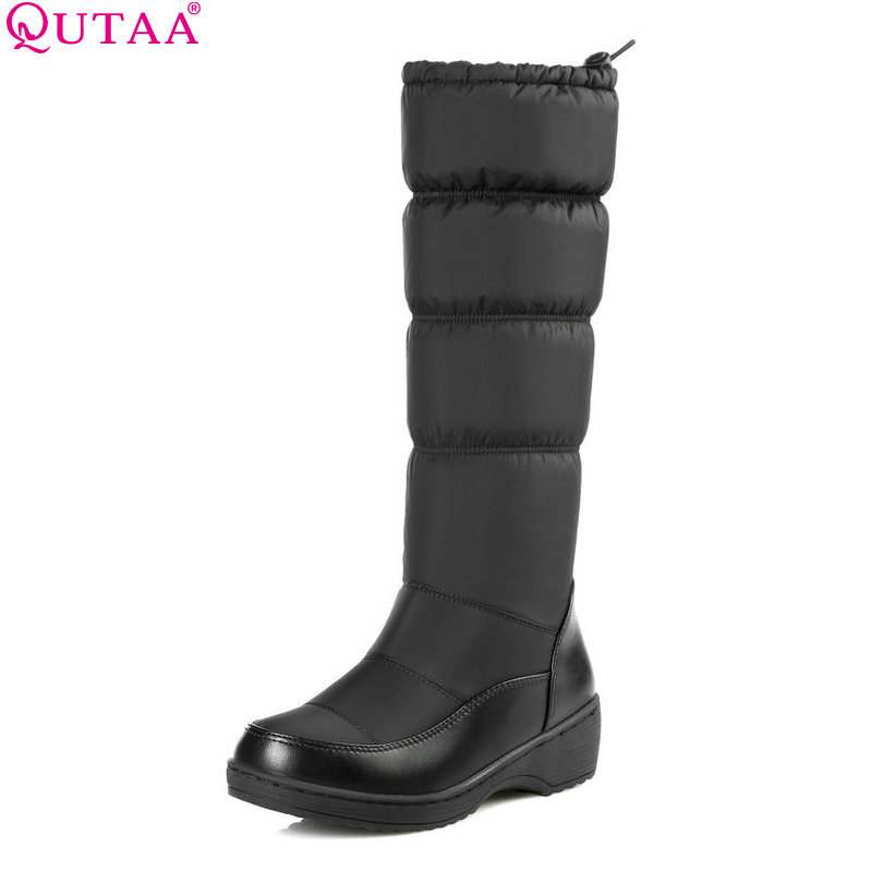 QUTAA White Shoes Wedge Low Heel Mid Calf Snow Boots Women