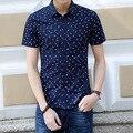 2016 Summer New Slim Fit Overhemd Heren Fashion Print Cotton Camisa Manga Corta Hombre