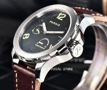 Hombres Reloj Mecánico Parnis 44mm Potencia Reservados Bolsa Leahter Caja de Plata de Acero Sapphire Luminoso Fecha Automático Auto Wind Watch
