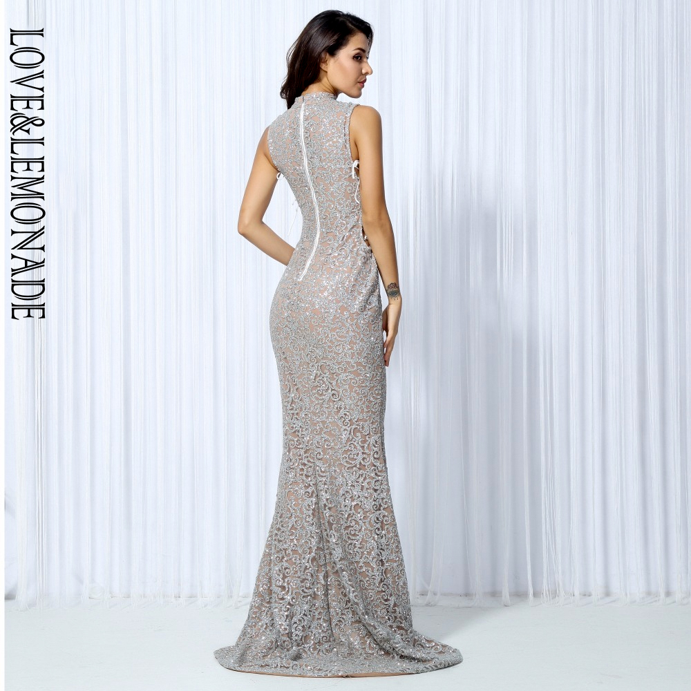 Love&Lemonade . Silver Geometric Graphic Beads Cut Out Banded Long Dresses LM0020