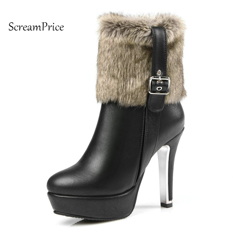 Woman Platform Thin High Heel Buckle Faux Fur Ankle Boots Fashion Round Toe Side Zipper Dress Winter Boots Black Red White faux suede platform buckle strap sexy thin high heel pumps fashion round toe party shoes women red black