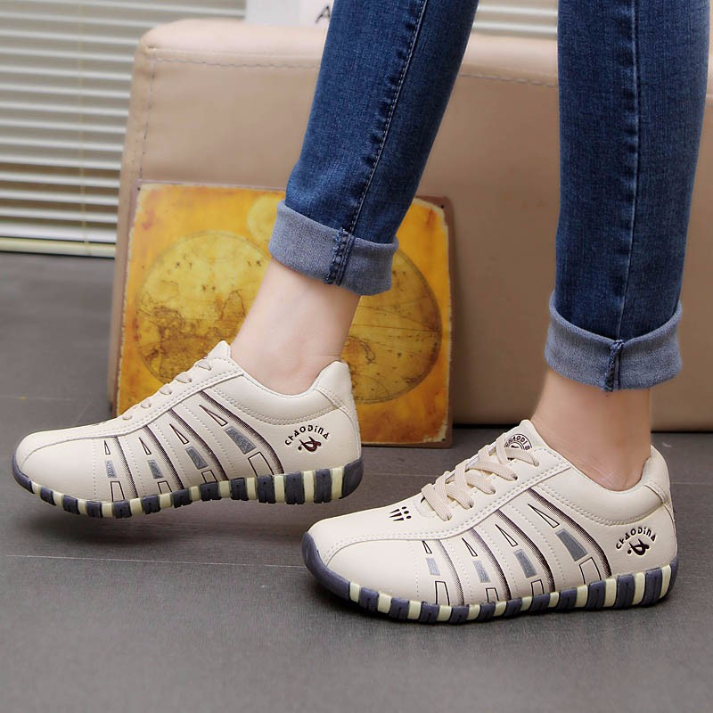 KUYUPP Fashion Breathable Leather Women Casual Shoes Lace Up Woman Trainers Outdoor Women Low Toe Shoes Zapatillas Mujer YD122 (33)