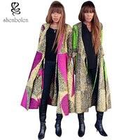 Spring Autumn 2016 Fashion Womens Coat African Clothing Batik Printing Long Sleeve Frenum Dresses V Neck