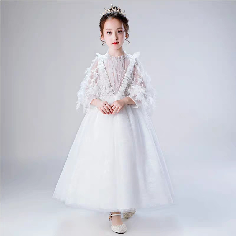 High Quality Elegant Children Girls Princess Birthday Wedding Party Long Mesh Dress Kids Teens White Color Costume Prom DressesHigh Quality Elegant Children Girls Princess Birthday Wedding Party Long Mesh Dress Kids Teens White Color Costume Prom Dresses