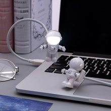Abay Flexible Spaceman Astronaut USB Tube LED Night Light Lamp For Computer Laptop PC Notebook Reading Portable DC 5V(China)