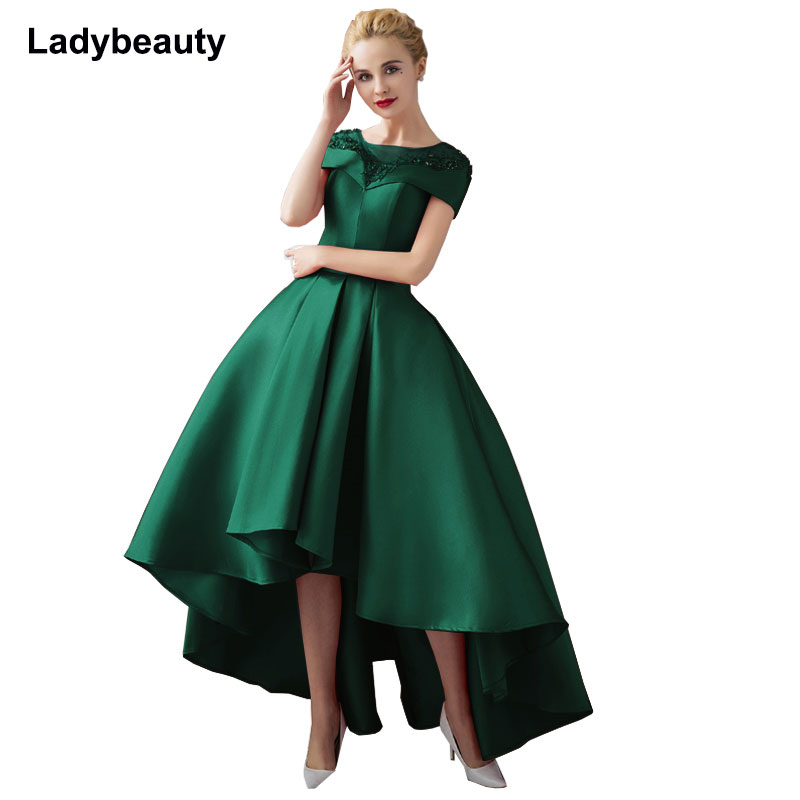 Asymmetrical Ball Gown Evening Dresses Plus Size 2018 Luxury Prom Formal Dress Short Sleeve Formal Evening Gown Robe De Soiree
