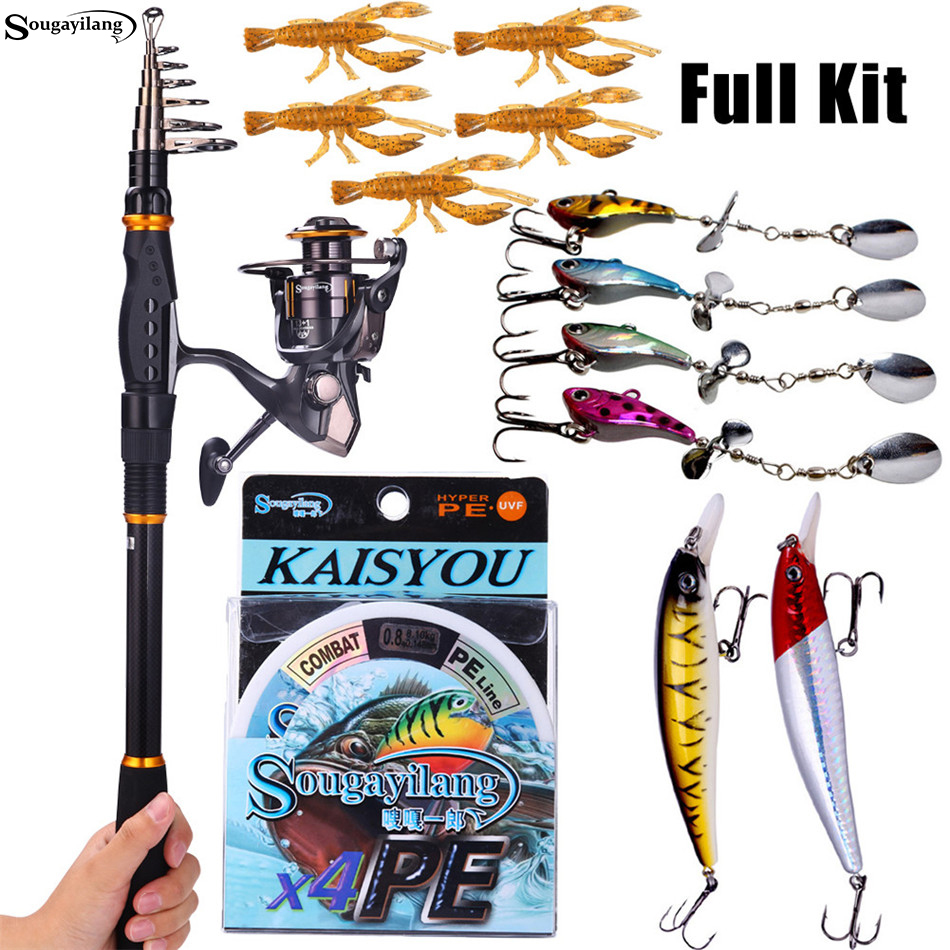 Sougayilang Fishing Rod Reel Combos Carbon Telescopic Fishing Pole with Spinning Reel Line Lures Kit Travel Saltwater Fishing