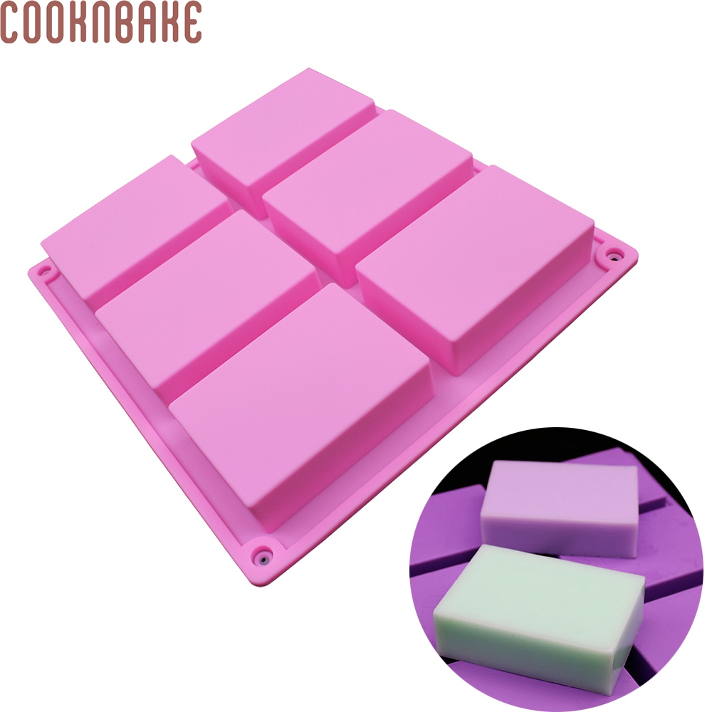 COOKNBAKE DIY Silicone Handmade Soap Mold 6 Holes Rectangular Pastry Mold 100ml Silicone Cake Bakeware Mold  SSM-001-6