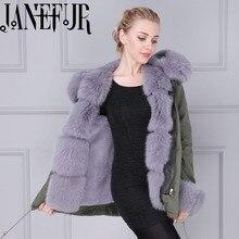 Winter jacket real fur parka jacket with real fox fur trim and fake fur lining/Fox fur collar khaki green warm parka