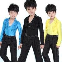 New Boys Professional Ballroom Latin Salsa Cha Cha Dance Costumes For Childrens Dancewear Clothes Set Tops