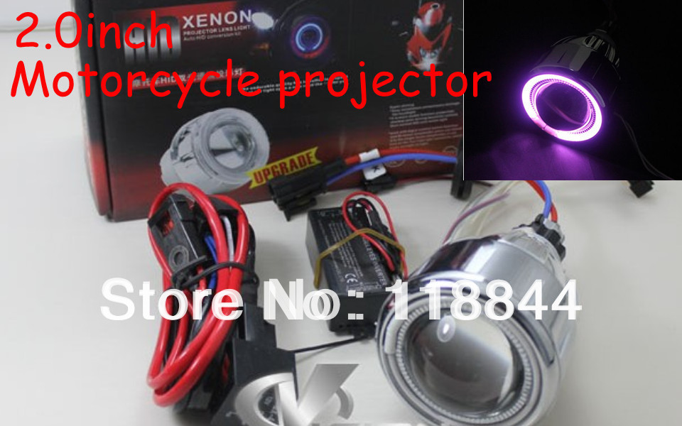 Universal Motorcycle 35w 2 inch Hid Bixenon Projector Lens Headlight Kit 8000K-4300K Blue Green Red Yellow White CCFL Angel Eye 2 5 inch h1 h7 9005 9006 bixenon projector lens for motorcycle auto headlight with ccfl angel eyes bule yellow red white purple