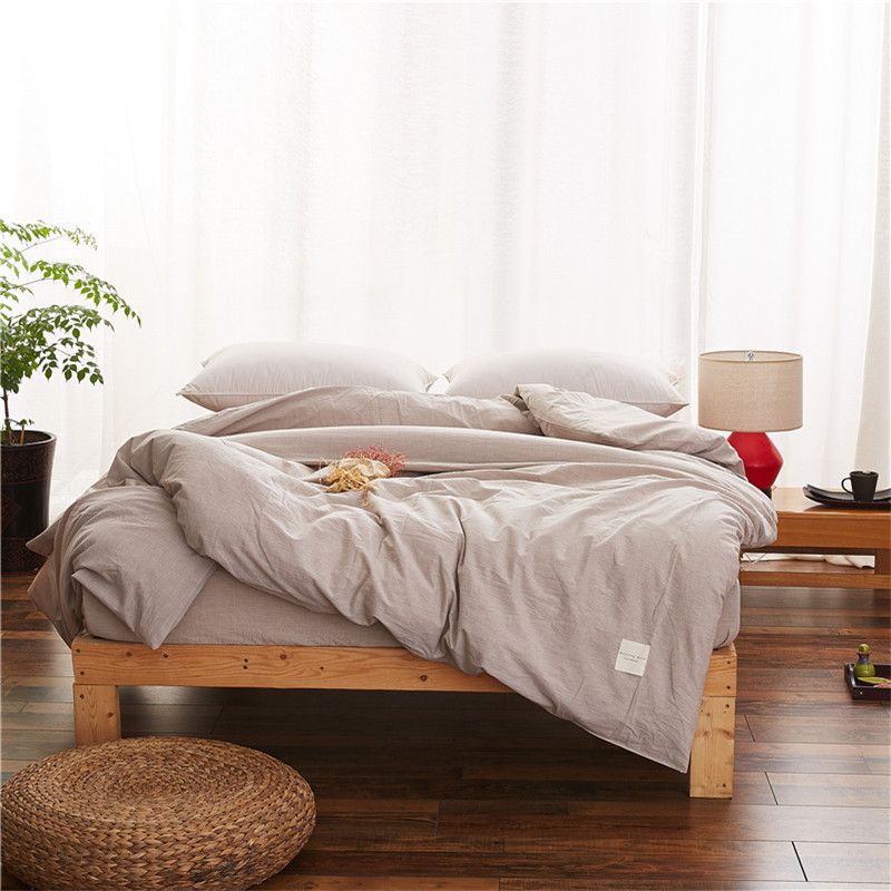 Pure Gray Modern Style Quilt Cover Bedding Cotton Duvet Cover Comfortable 1Pcs Quilt Cover Single Bed Satin Quilt Cover Soft