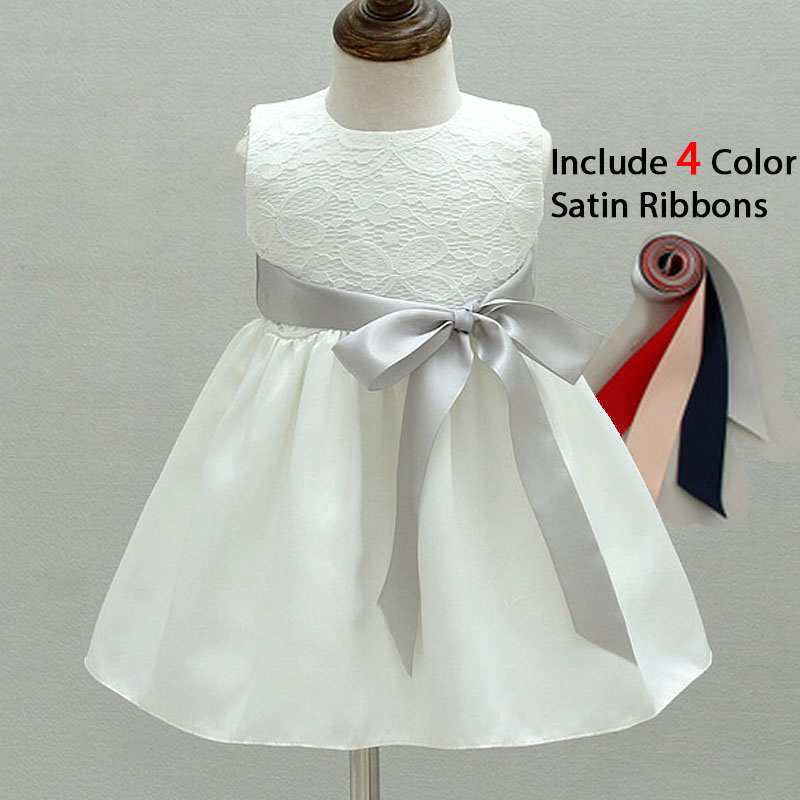 Baby White Baby Girl Dress for Baptism Christening Gowns Infant 1 Birthday Dress Lace Flower Girl Party Dress 4 Satin Ribbons