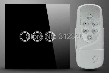 Livraison gratuite 86 MM 2 PCS/LOT = 1 PC commutateur + 1 PC télécommande interrupteur mural en verre tactile interrupteur panneau 3 gang 1 voie verre trempé