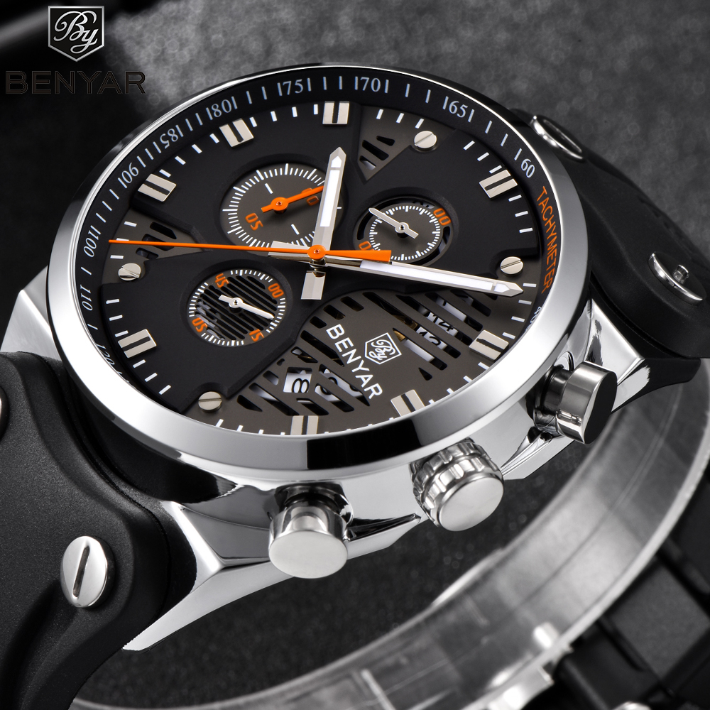 BENYAR New Fashion Mens Watches Top Brand Luxury Quartz Sport Watch Quartz Men Silicone Band Military Army Wristwatch Clock 2018 все цены