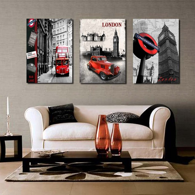 Buy 3 pieces hot sell modern wall painting london clock stre - Toile decorative murale ...