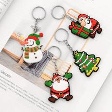 Cute Cartoon Christmas Tree Hanging ornament Santa Claus Pvc  Key Rings Chain Gift New Year Decoration