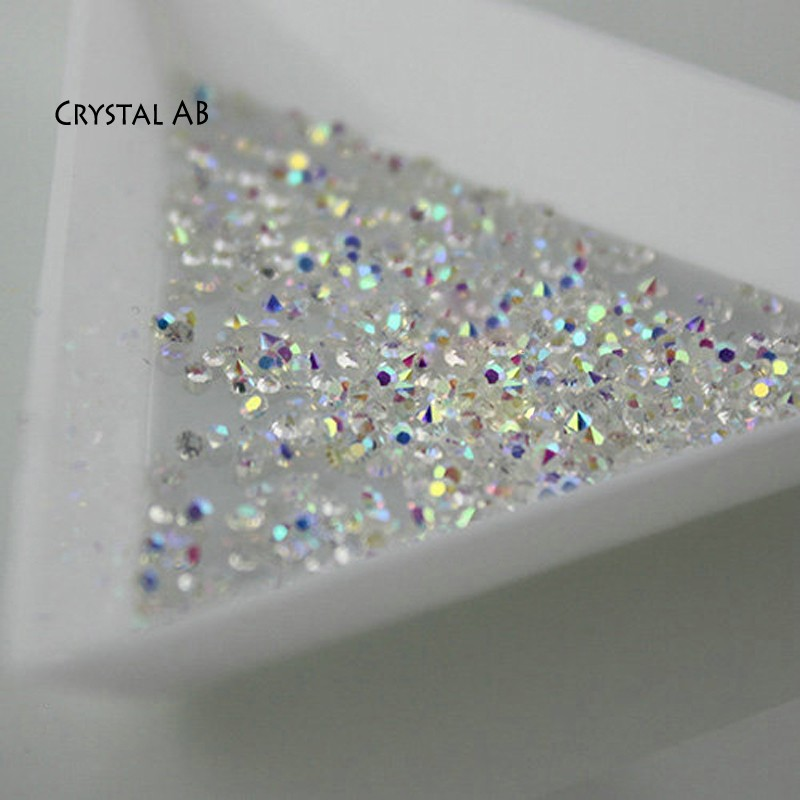 1440pcs 1.2mm Crystal Pixie AB Glass Micro Rhinestones for Nails Crystals Strass Nail Art Decorations Unas Nail Design Strass strass glass ab rhinestones non hotfix ss20 4 8 5 0mm for 3d nails art design decorations crystal for nails gel nail accessories