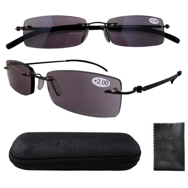 4c1e72f625d R14001CT Lightweight Stainelss Steel Frame Rimless Sun Readers Reading  Glasses +1.00 +1.25 +2.75 +3.00