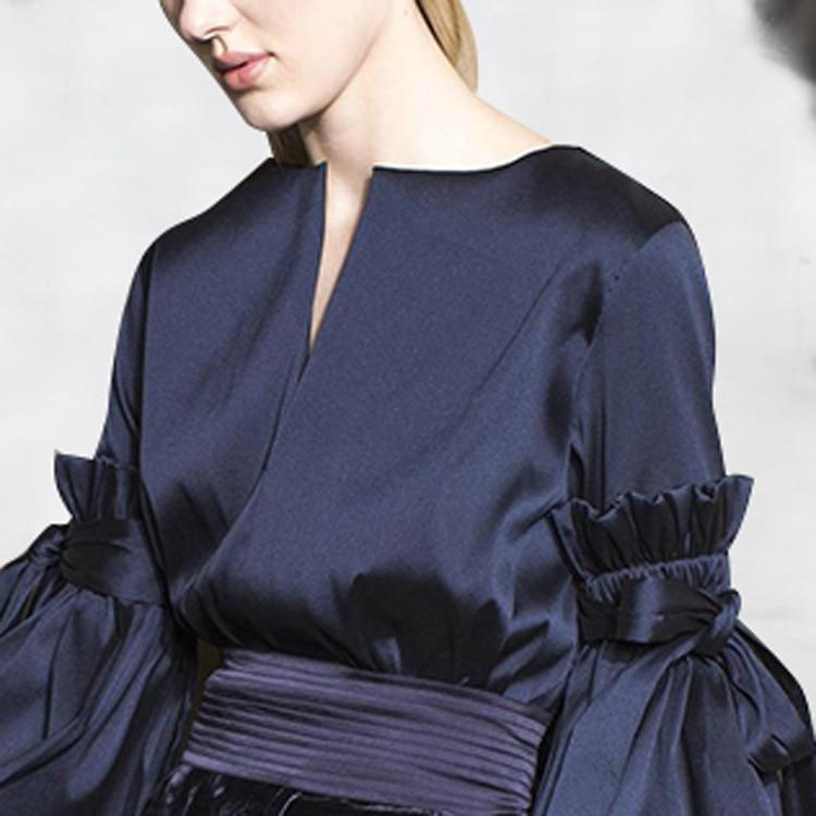 Plissé Black Mode Outfit Popeline 2018 Bouse Rond Col Arc Deat Wb62601xl Automne Ol Lanterne Femmes Nouvelles Manches Vêtements Grande Femelle De 4Rx7wI7q