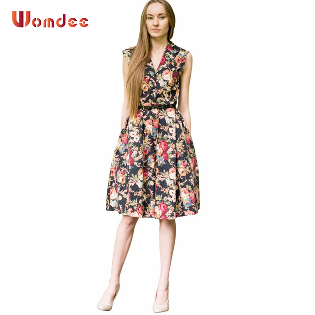 Womdee 2017 Summer 70s Women Vintage Audrey Hepburn Dress Tank Sleeveless Floral Print Vestidos Casual
