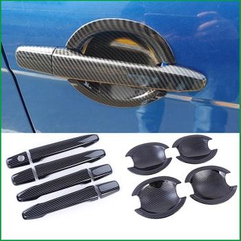 Dla Mitsubishi Lancer EX EVO salony kosmetyczne 2009-2015 ABS wygląd węgla klamka do drzwi kubek pokrywa misy naklejki wykończenia Car Styling Auto części