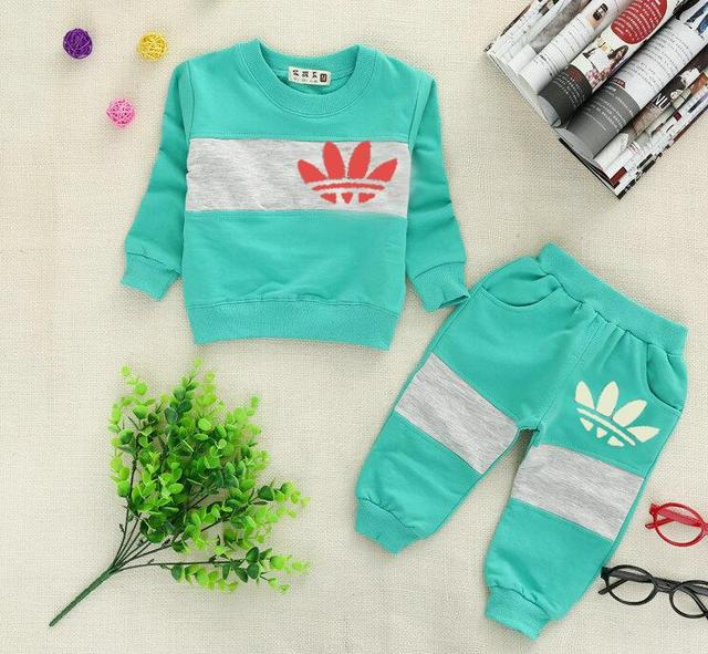New Brand Kids European version Baby boys clothes children Set baby tracksuit t-shirt+pants baby girls fashion autumn clothing