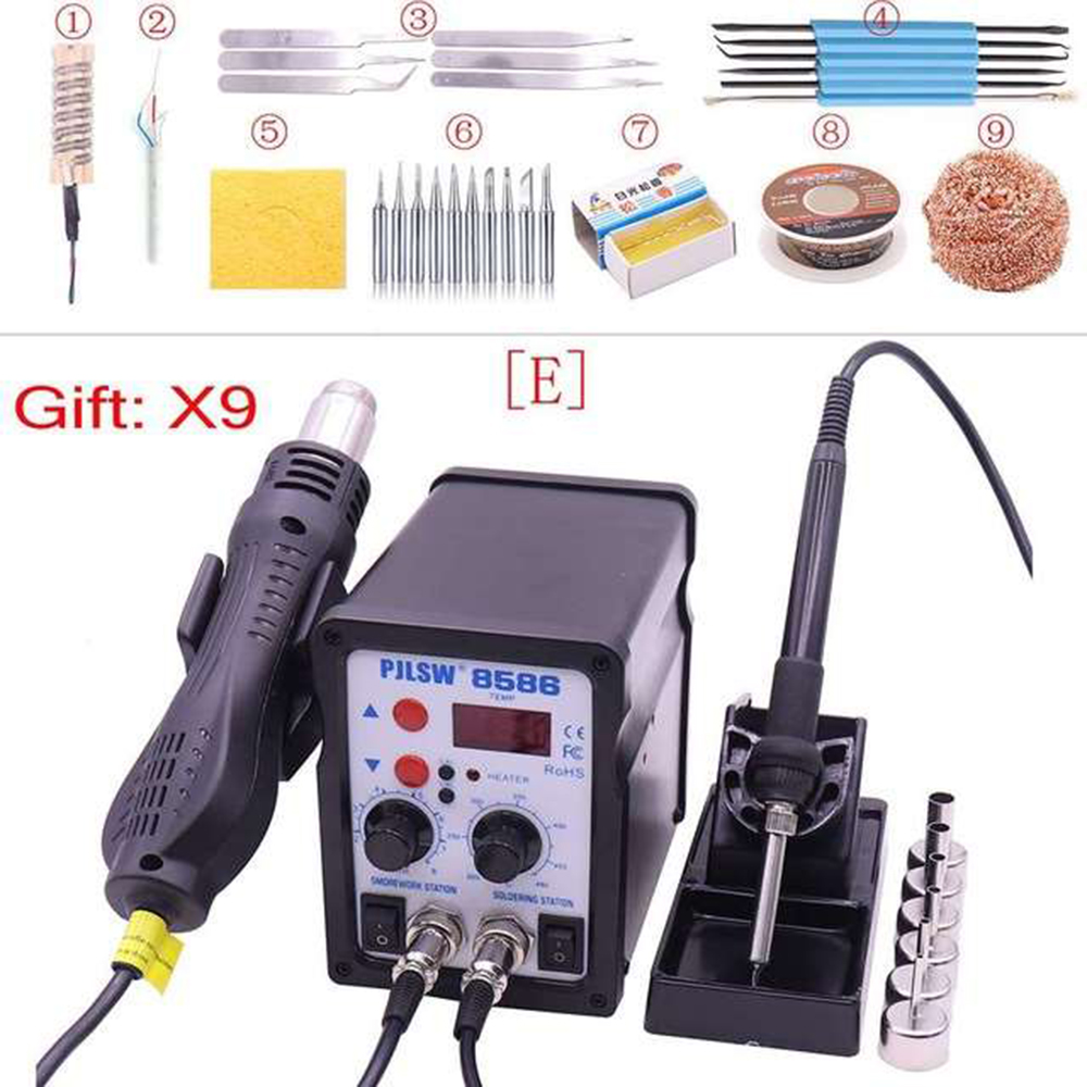 8586 Solder Station LED Digital Solder Iron Desoldering Station BGA Rework Solder Station Hot Air Gun Welder PJLSW