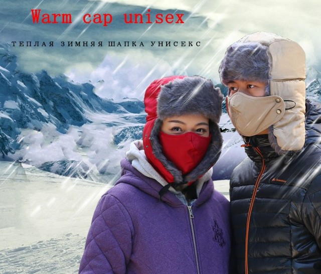 Nova marca chapéu para as mulheres Unisex Inverno Lei Feng Chapéu Do Aviador Abas de Orelha de Bombardeiros Chapéus Trapper Prova ao ar livre Homens Inverno tampa à prova d' água