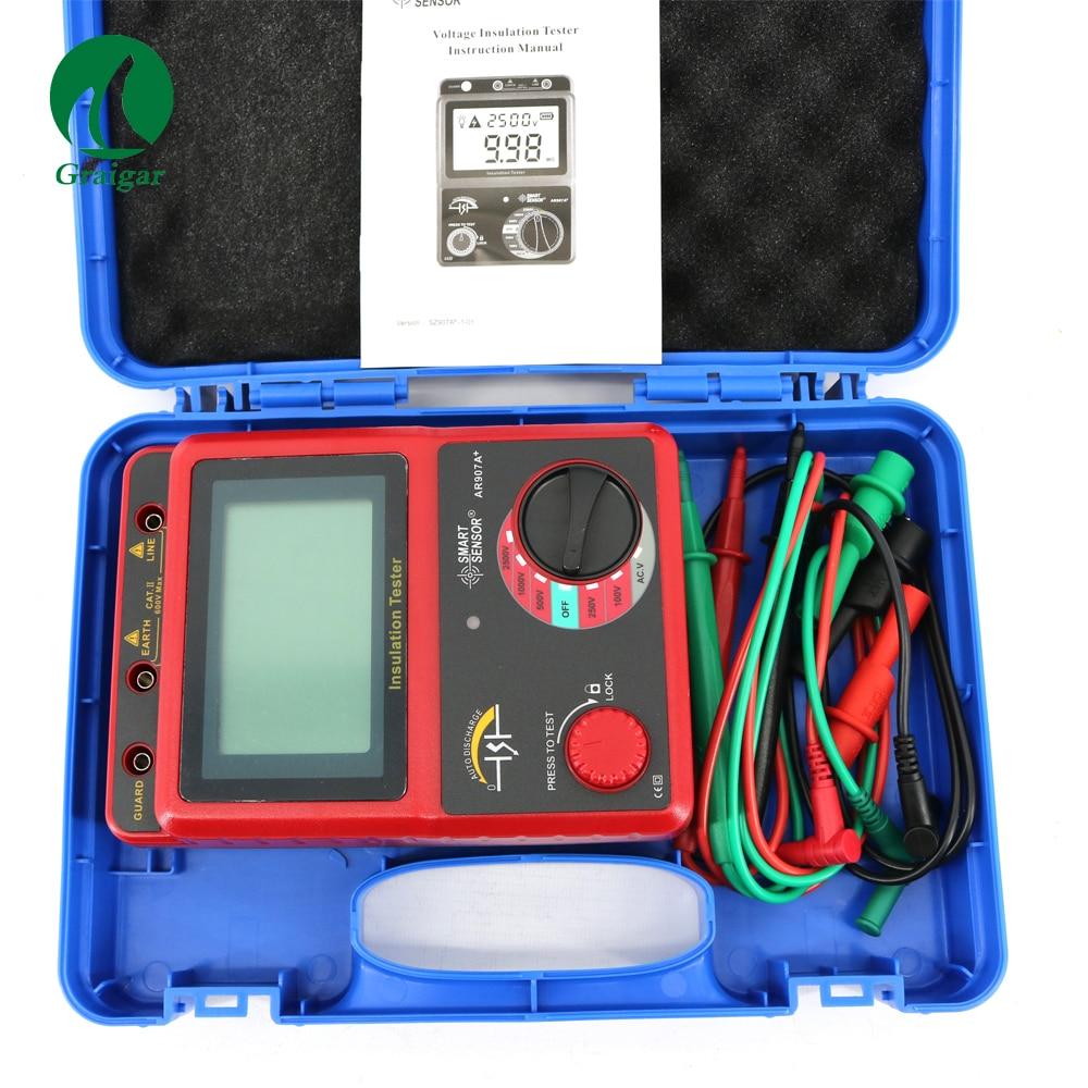 Smart Sensor Insulation Resistance Tester meter AR907A+Smart Sensor Insulation Resistance Tester meter AR907A+