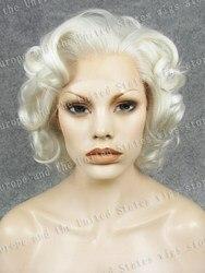 Marilyn Monroe-perruque synthétique coupe au carré court | Perruque en fiber résistante à la chaleur, perruque Bob grise, argentée et brune, perruque Lace Front synthétique bouclée accerssoires de Cosplay