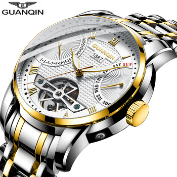 GUANQIN Watch men Mechanical waterproof wrist watches Automatic Tourbillon Clock men sports watches swimming Relogio Masculino