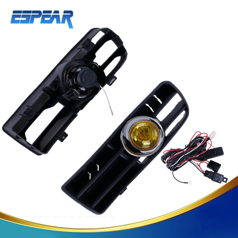 2016 1pair Yellow Front Lower Grille Fog Light For VW Golf GTI/TDI MK4 1998-2004 +Switch+Relay+Wiring Harness +Box ESPEAR P101