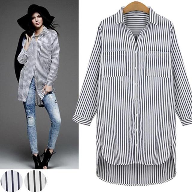 c0c45d6018984 5xl más Tamaño Rayas Mujeres Blusas Largas Señoras de la Oficina Tops  Camisa de Manga Larga